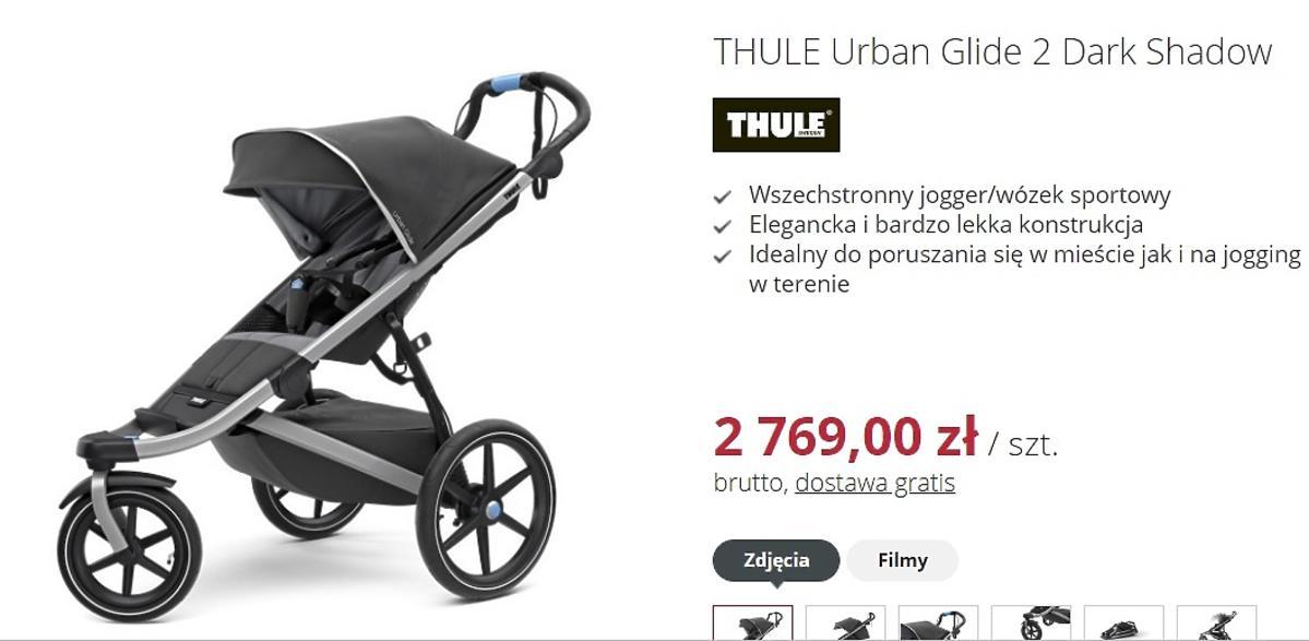 Wózek do biegania, THULE Urban Glide 2 Dark Shadow, 2 769,00 zł