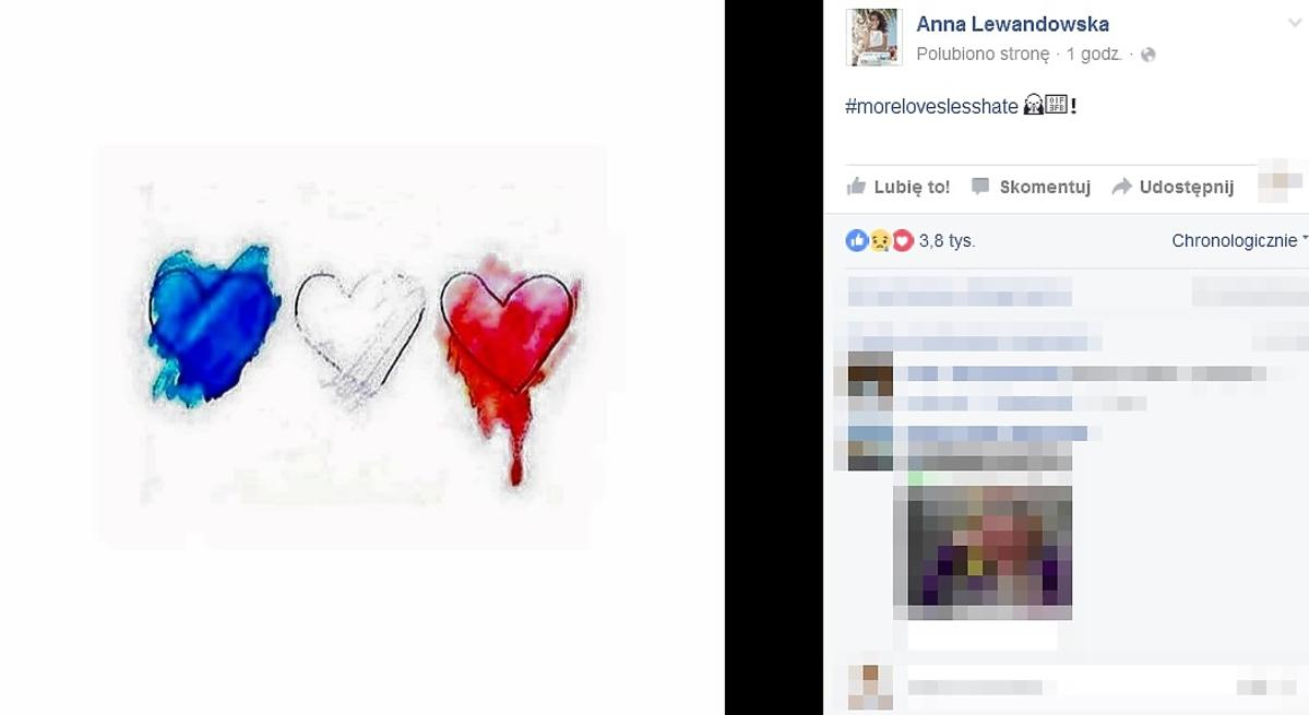 Wpis Anny Lewandowskiej po zamachu w Nicei