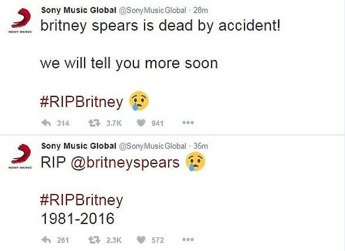 Wpis na koncie Sony Music, że Britney Spears nie żyje
