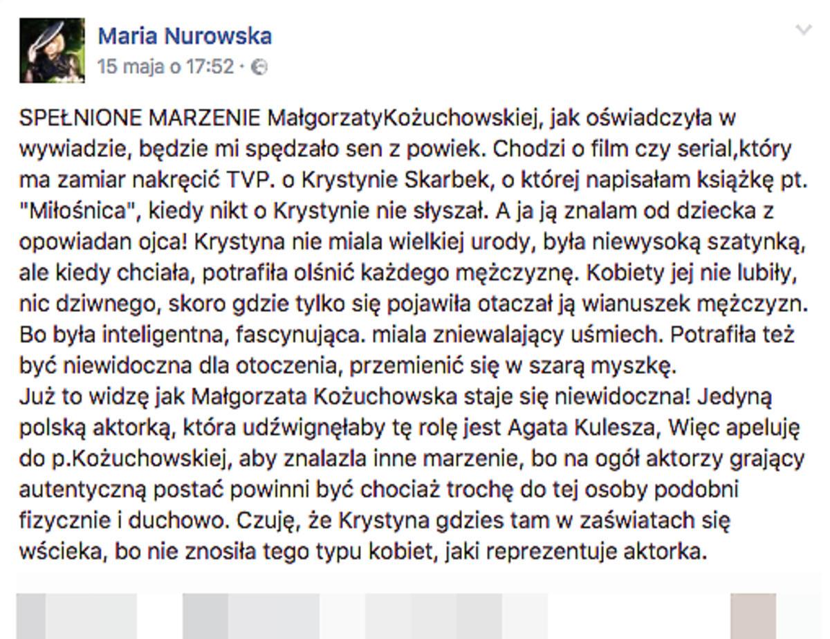 wpis Nurowskiej o Kożuchowskiej