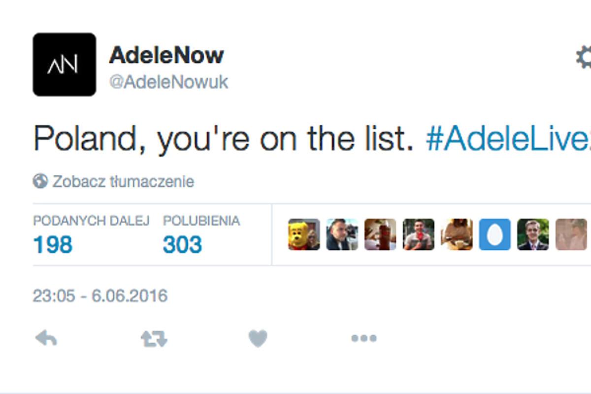Wpis z Twittera Adele