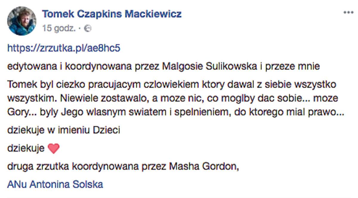 Wpisy żony Tomasza Mackiewicza