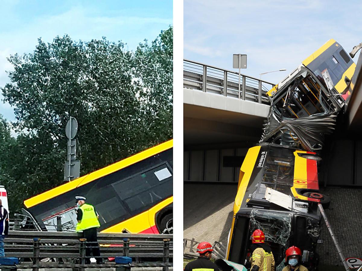 Wypadek. Autobus spadł z mostu Grota w Warszawie. Spadł na Wisłostradę