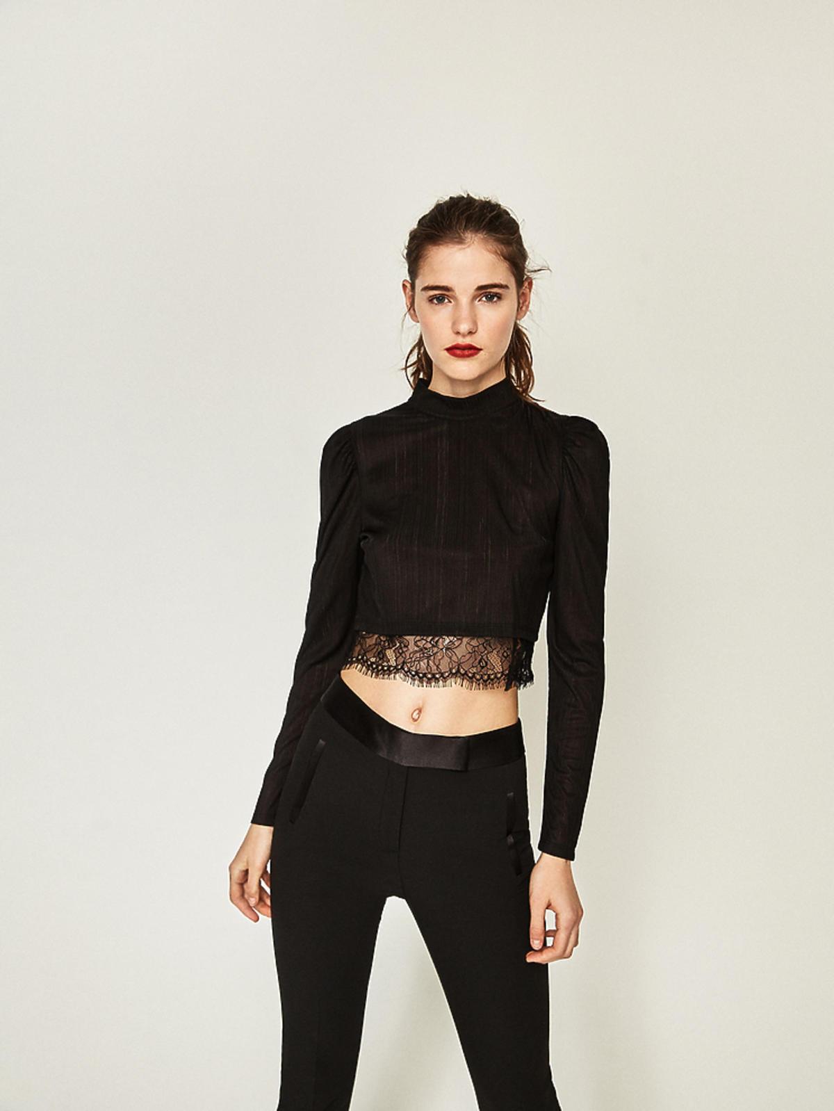 Wyprzedaż zimowa 2016: Koszulka z koronką, Zara, przeceniona z 79,90 zł na 49,90 zł