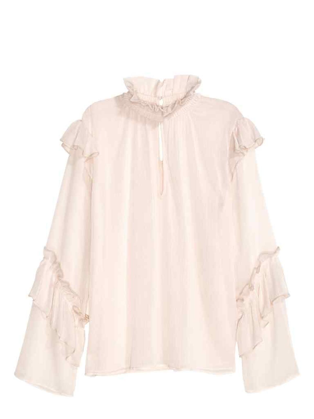 Wyprzedaże H&M zima 2016 - przeceny do 100 zł: Kreszowana bluzka z falbanami 90,90 PLN (było: 129,90 PLN )