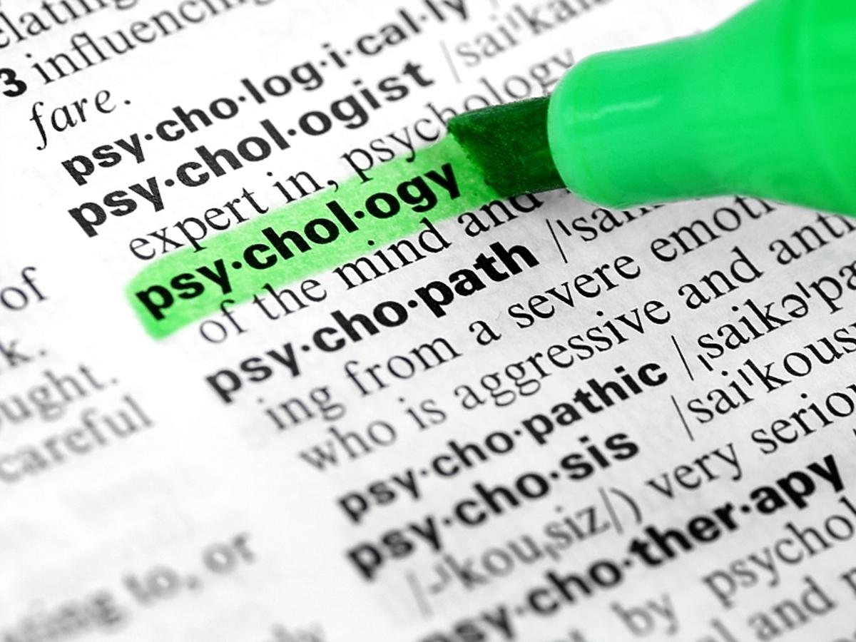 "Zakreślone słowo ""psychology"""