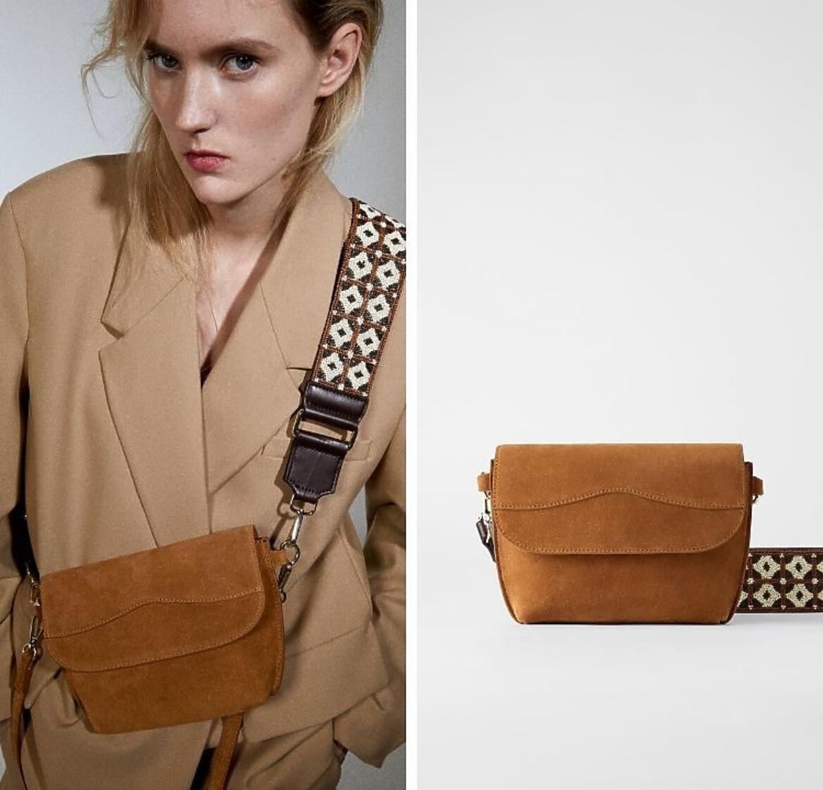 zamszowa torebka z ozdobnym paskiem Zara