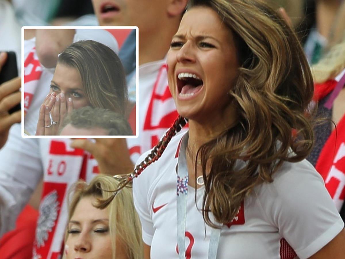 Zapłakana Anna Lewandowska podczas meczu Polska Senegal