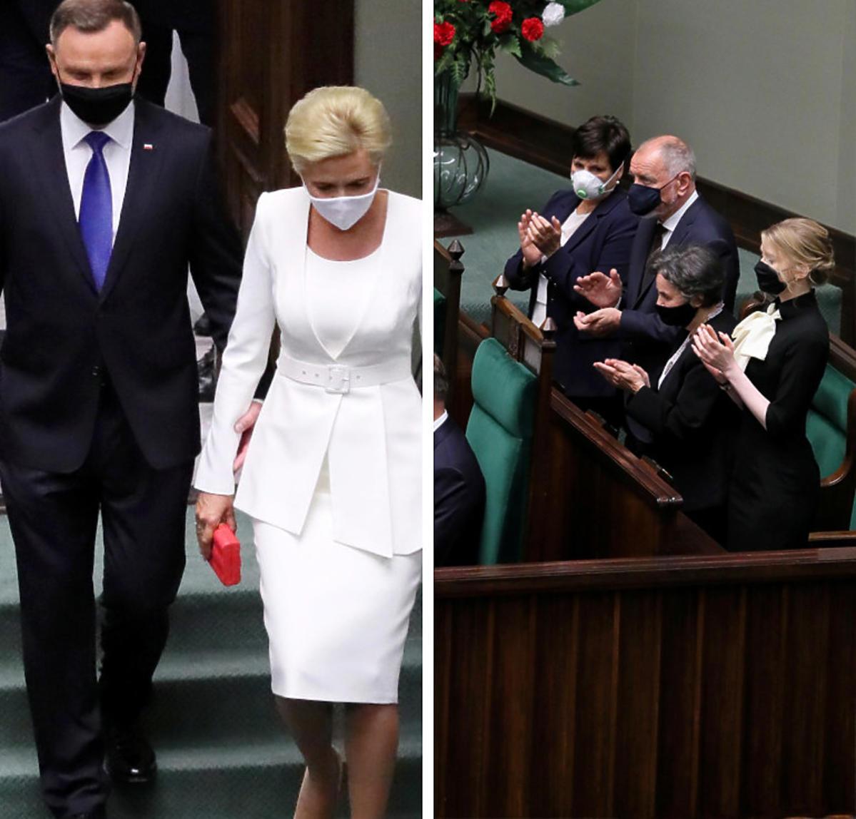 Zaprzysiężenie Andrzeja Dudy na prezydenta. Agata Duda w białym kostiumie