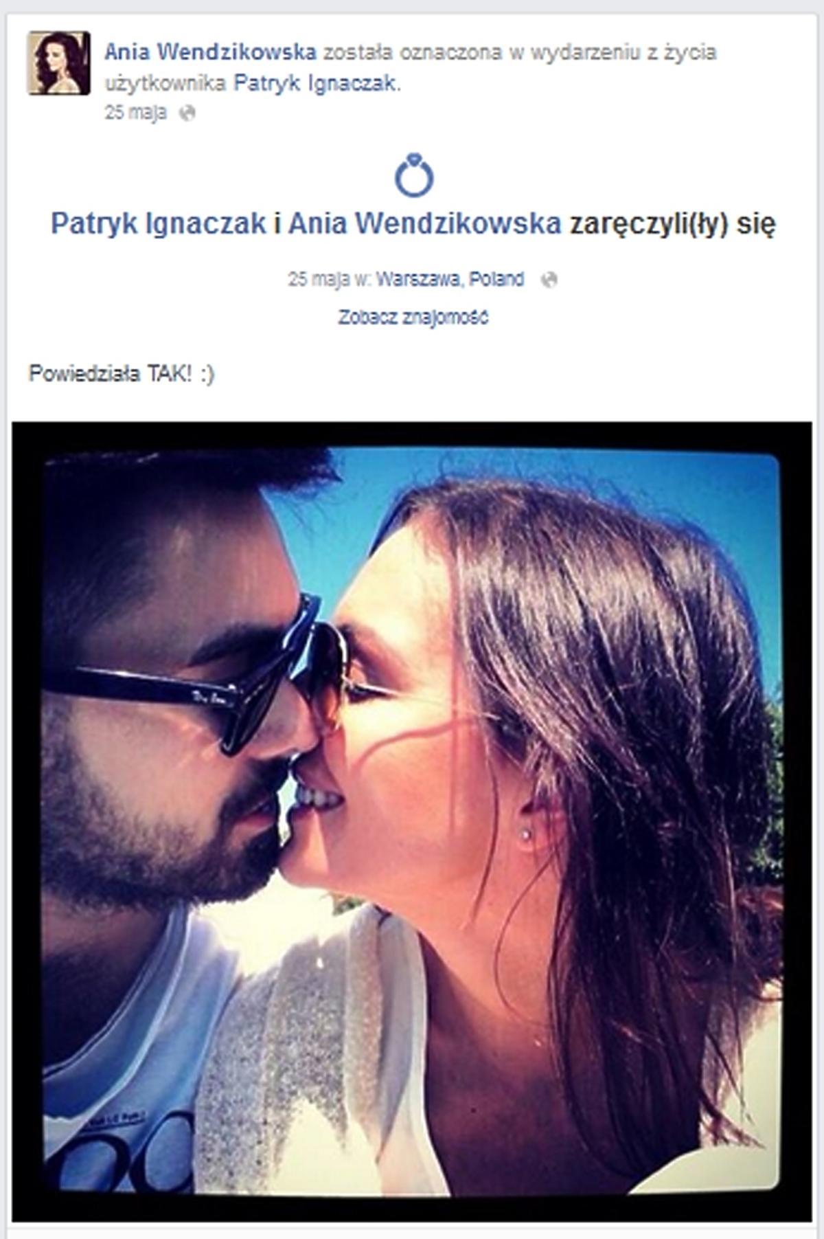 Zaręczyny Anny Wendzikowskiej i Patryka Ignaczaka
