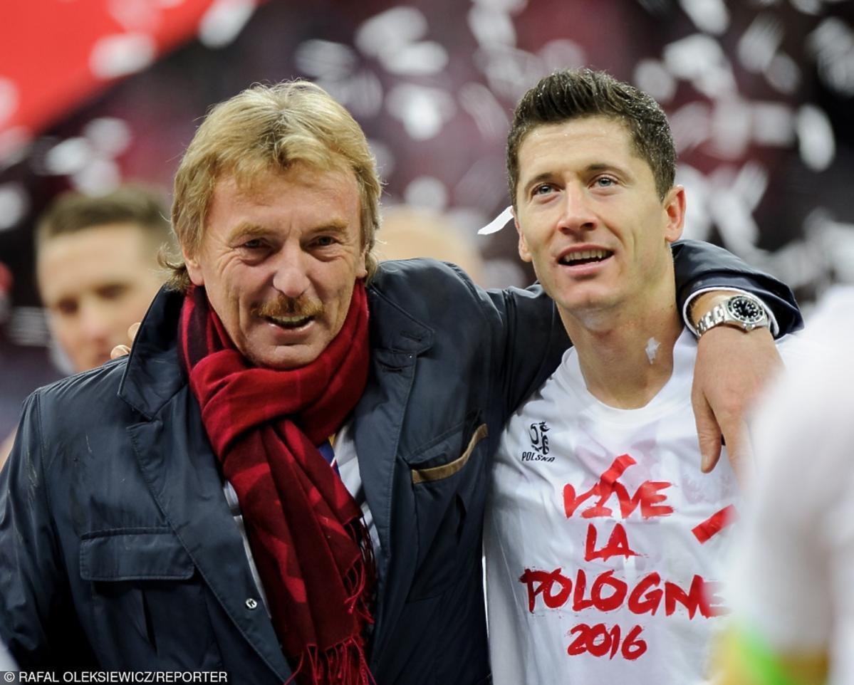 Zbigniew Boniek i Robert Lewandowski po meczu Polska-Irlandia