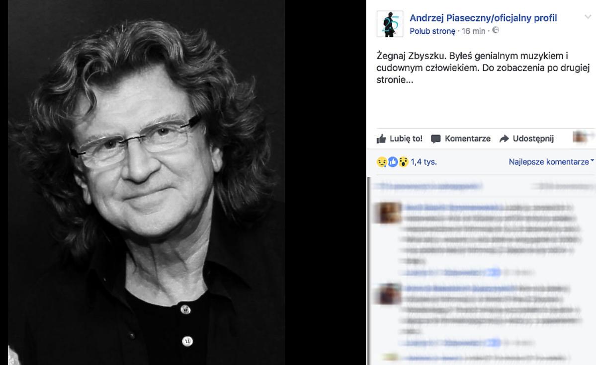 Zbigniew Wodecki nie żyje - wpis Andrzeja Piasecznego