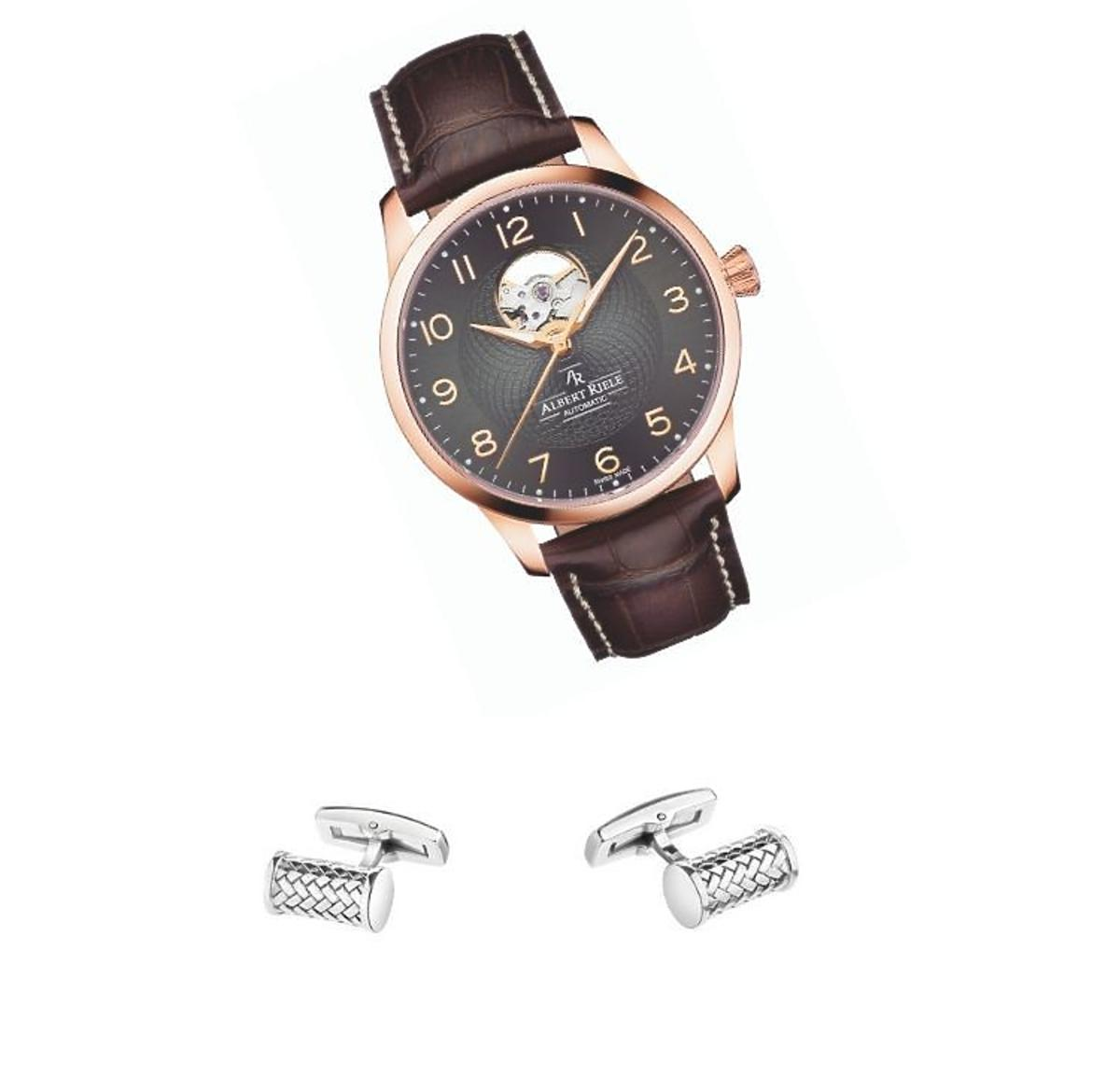 Zegarek i spinka do mankietów Apart(Trendy 2020-stylizacja ślubna pan młody)