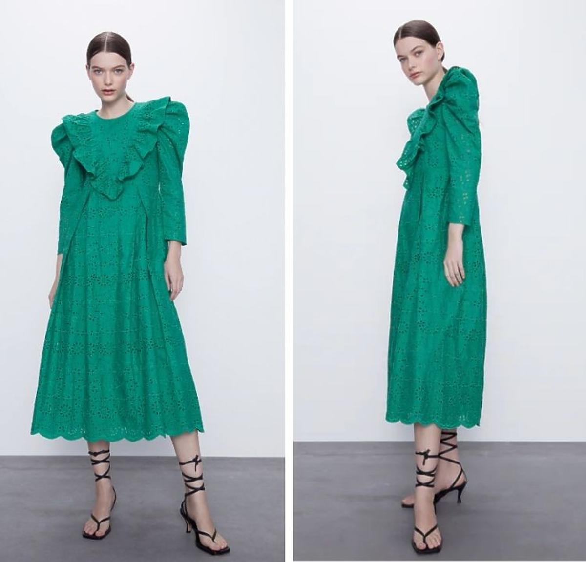 Zielona ażurowa sukienka z Zary