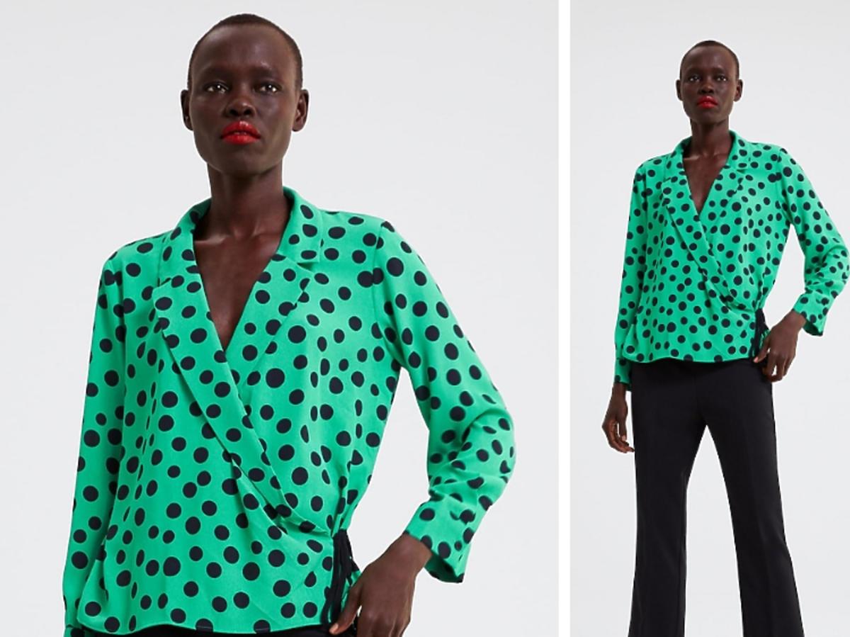 zielona bluzka w grochy Zara