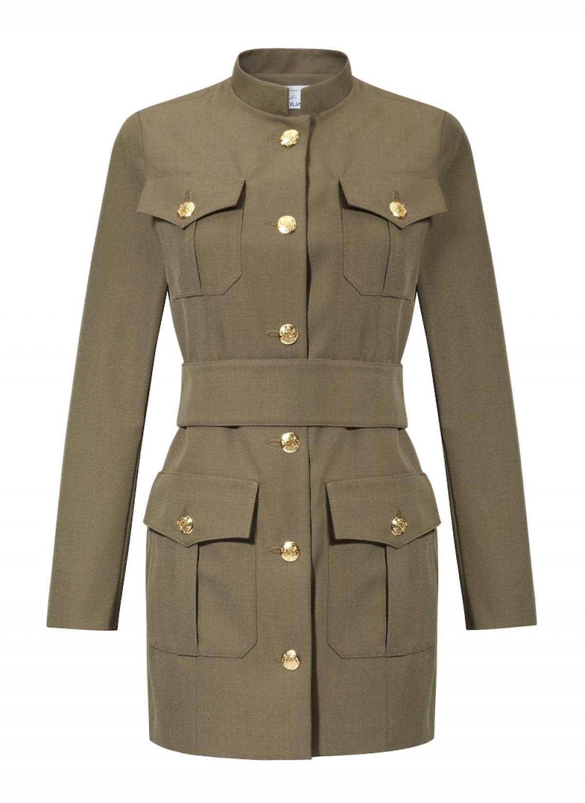 Zielona militarna sukienka ze złotymi guzikami