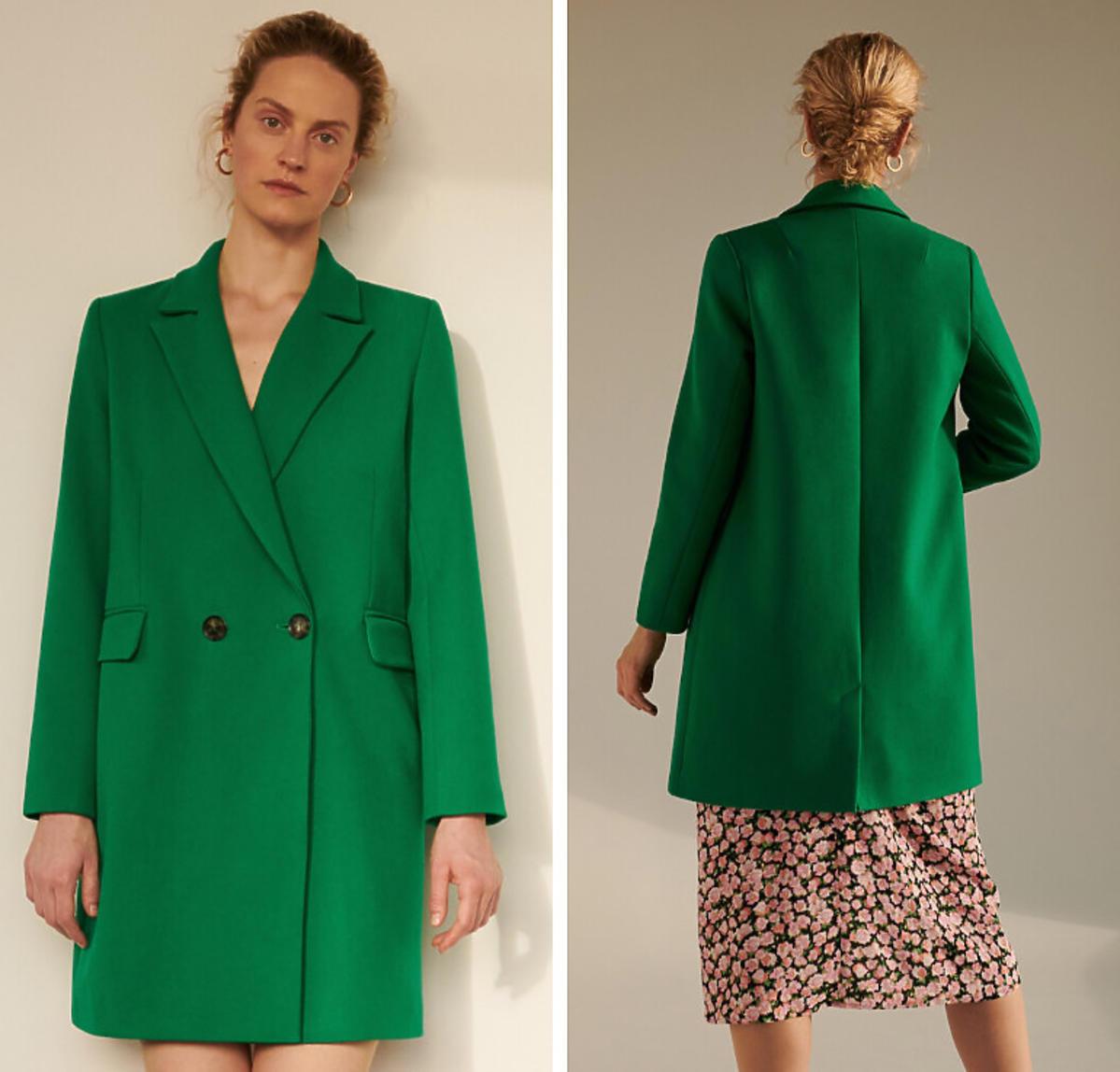 Zielony płaszcz Reserved cena 299 zł