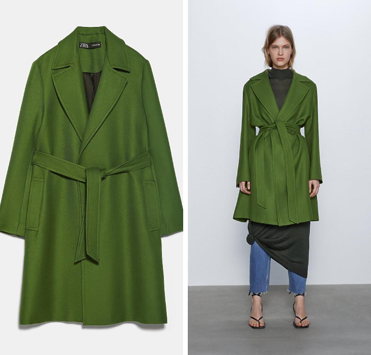 Zielony płaszcz Zara cena 349 zł