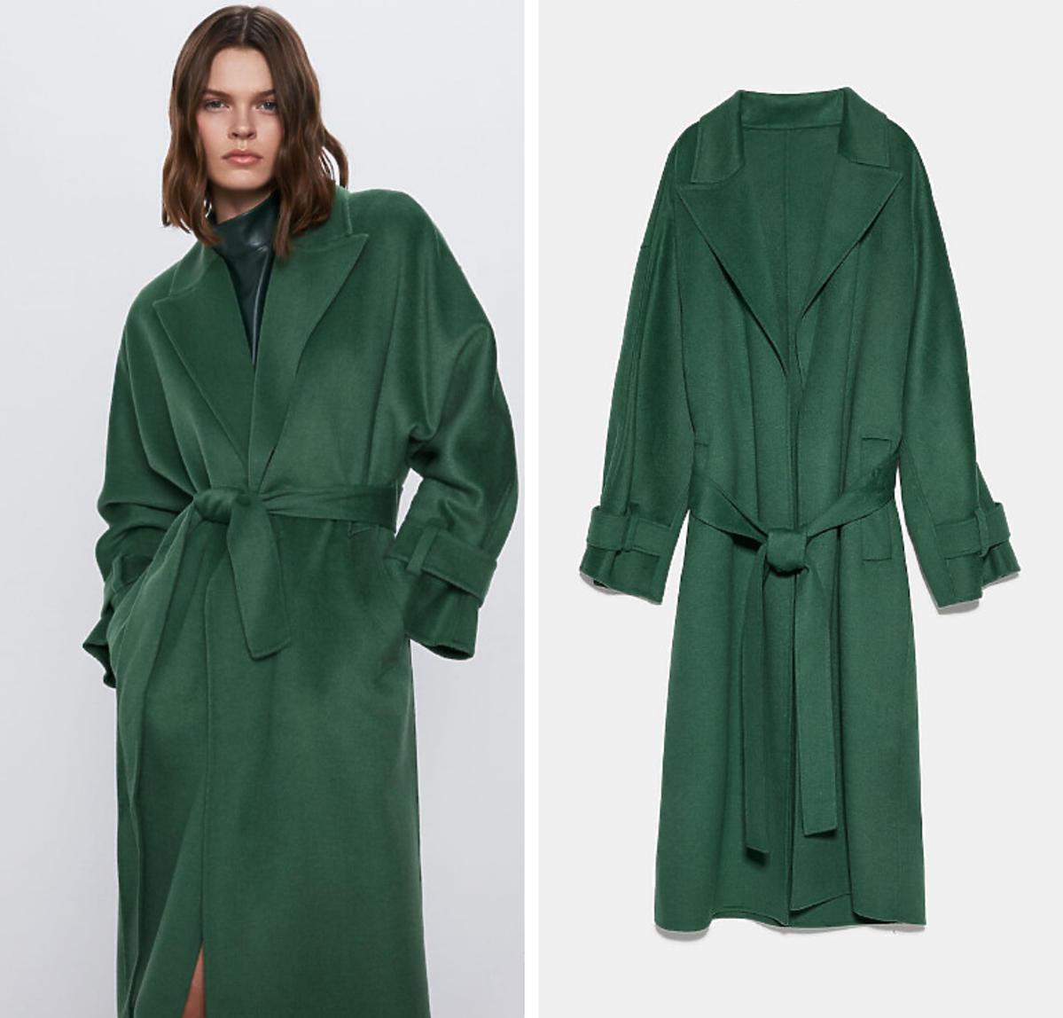 Zielony płaszcz Zara cena 549 zł