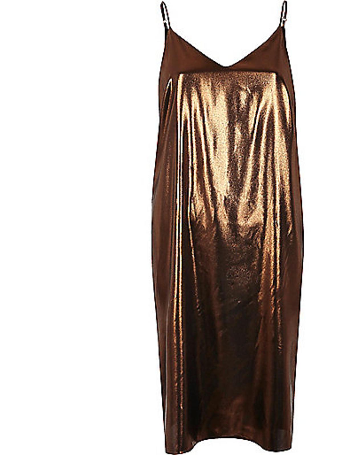Złota sukienka na cienkich ramiączkach