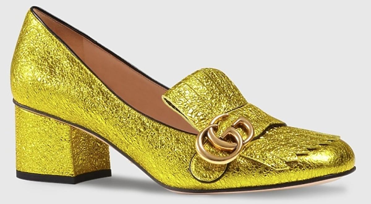 Złote błyszczące buty