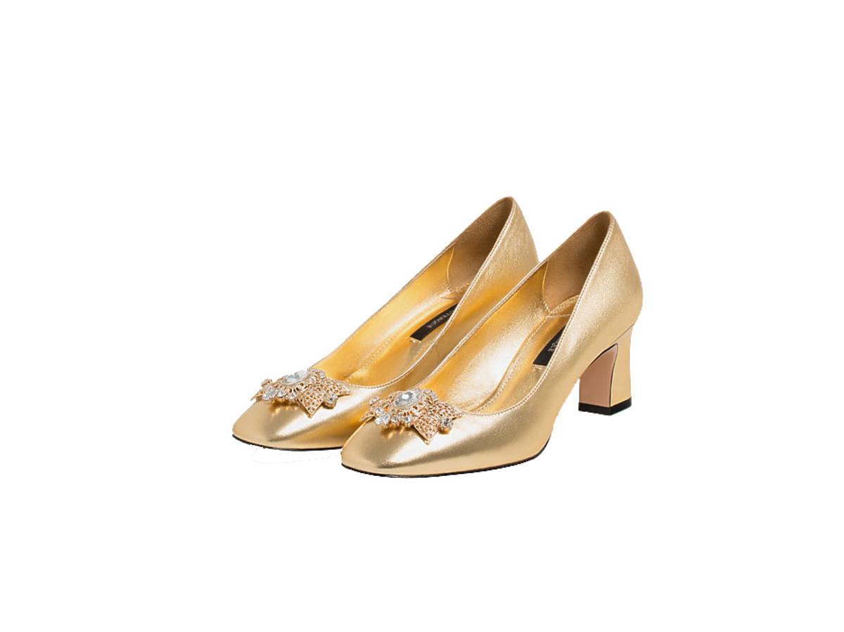 Złote czółenka z ozdobną broszką Uterque Zara COS