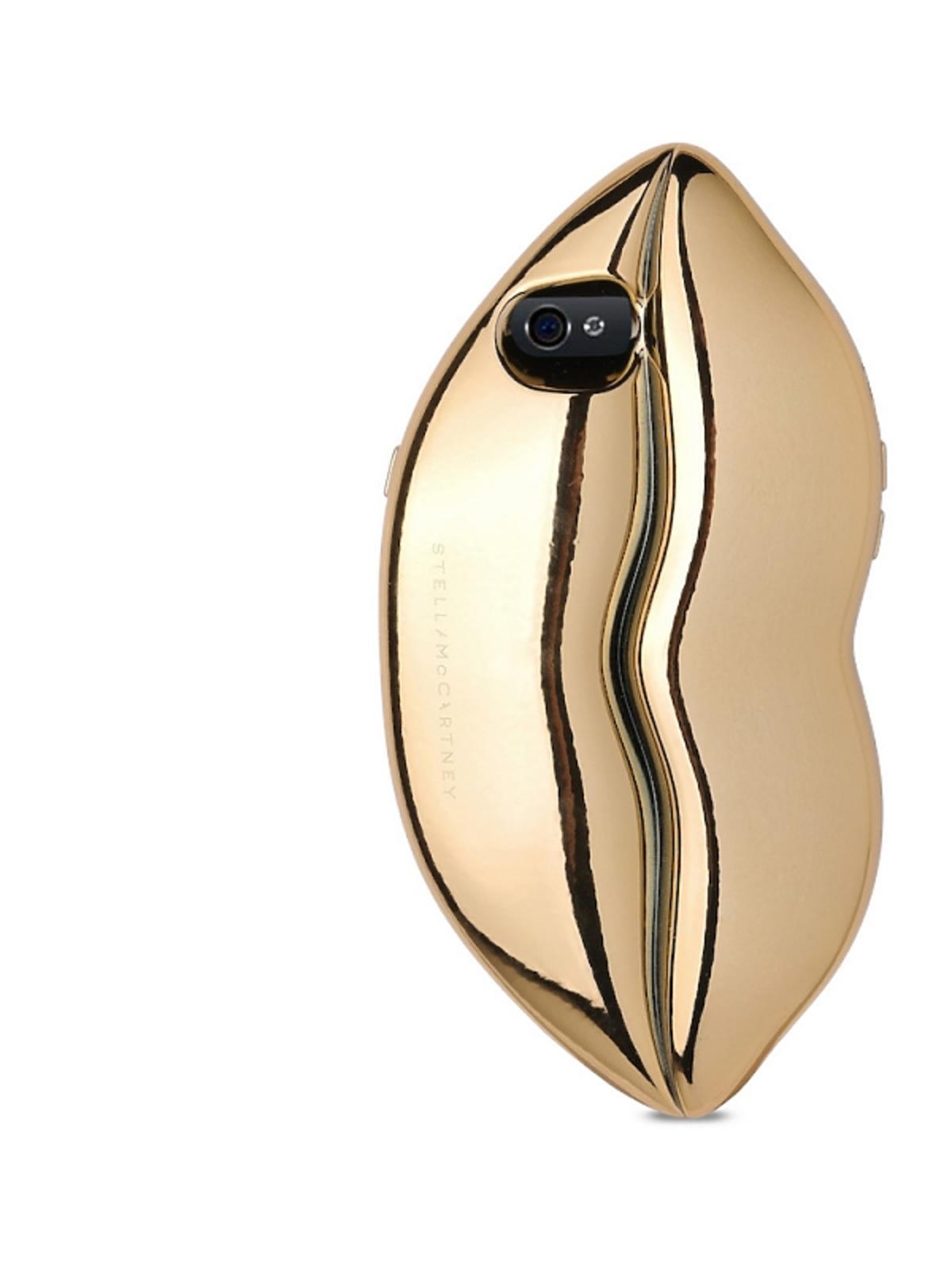 złóte etui na telefon w kształcie ust