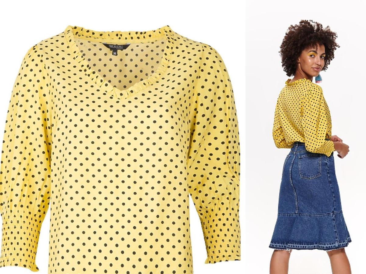 zółta bluzka w grochy
