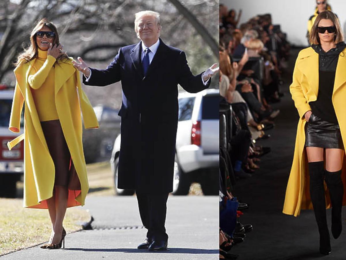 Żółta stylizacja Melanii Trump