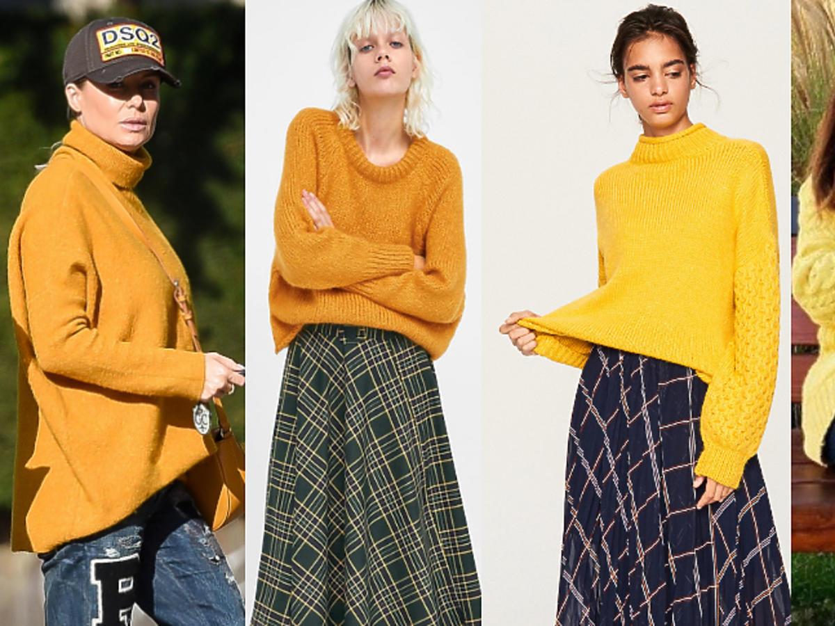 Żółte swetry w stylu gwiazd