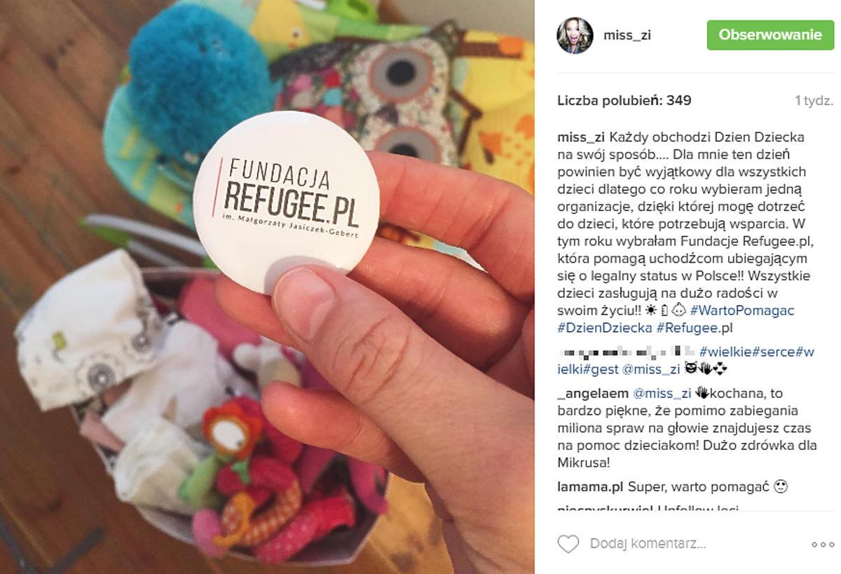Zosia Ślotała wspiera akcje charytatywne