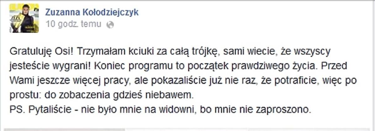 Zuzanna Kołodziejczyk o Top Model