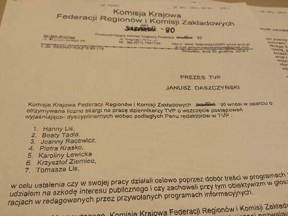 Związek zawodowy domaga się zwolnień dziennikarzy TVP