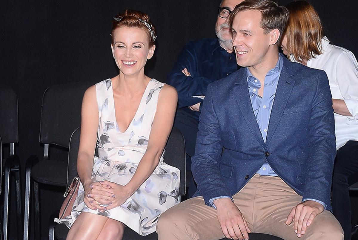 Katarzyna Zielińska, Stefan Pawłowski na konferencji serialu O mnie się nie martw