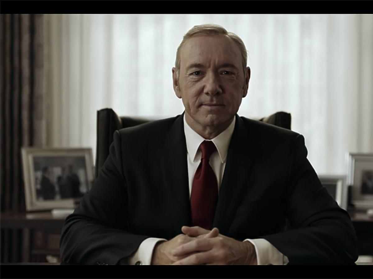Kevin Spacey jako Frank Underwood na planie House of Cards