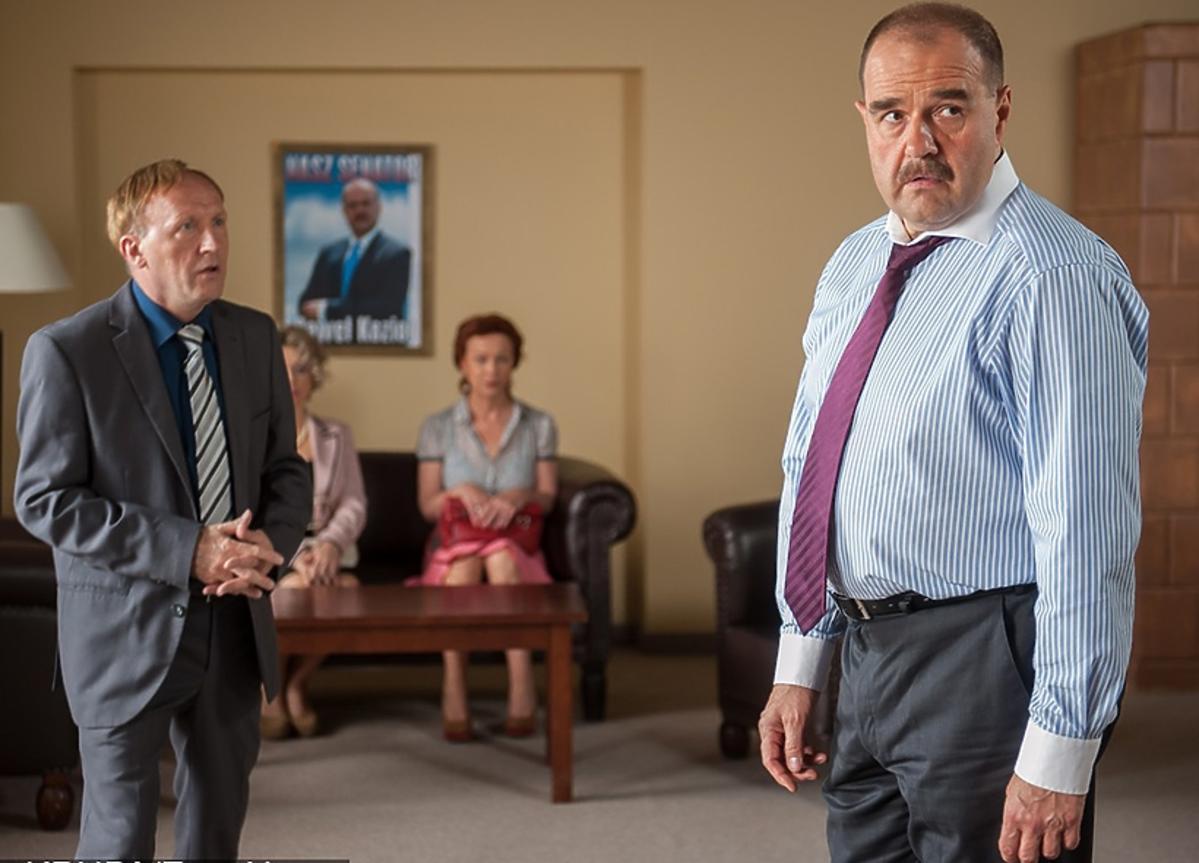Ranczo - Cezary Żak i Artur Barciś na planie serialu
