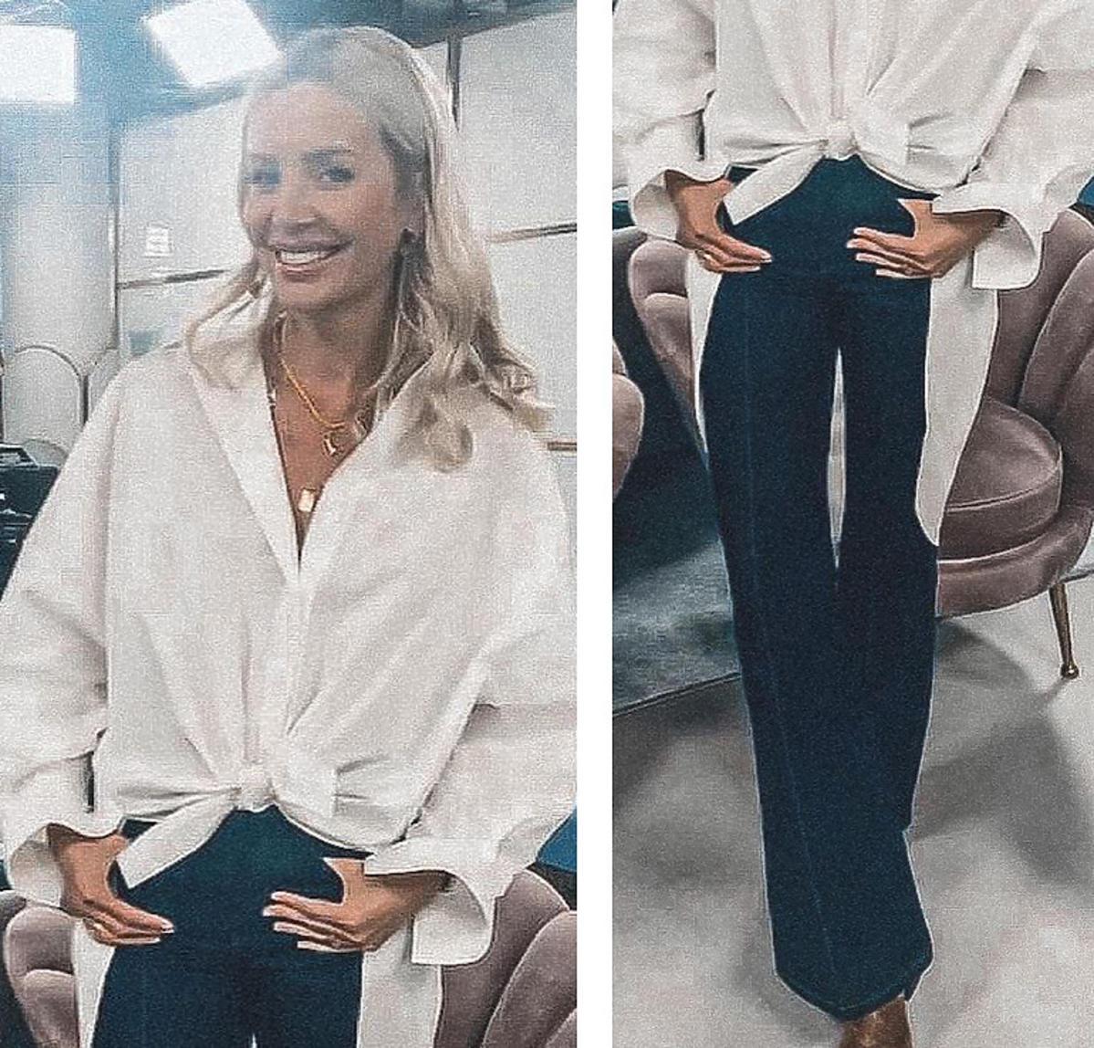 Agnieszka Woźniak-Starak w białej oversizowej koszuli i jeansowych dzwonach