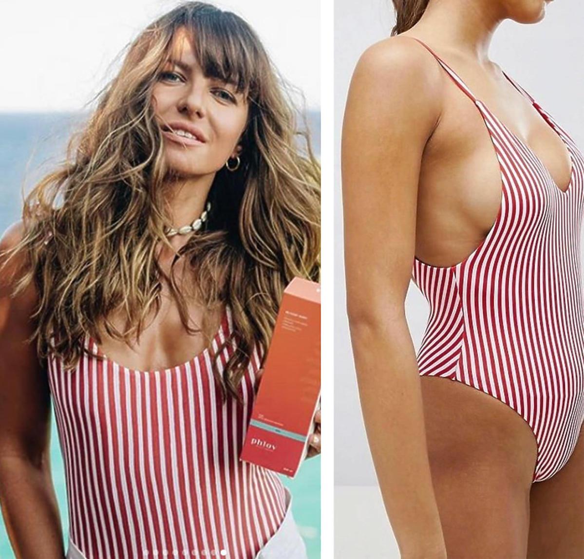 Ania Lewandowska w kostiumie kąpielowym w biało-czerwone paski za 29 złotych