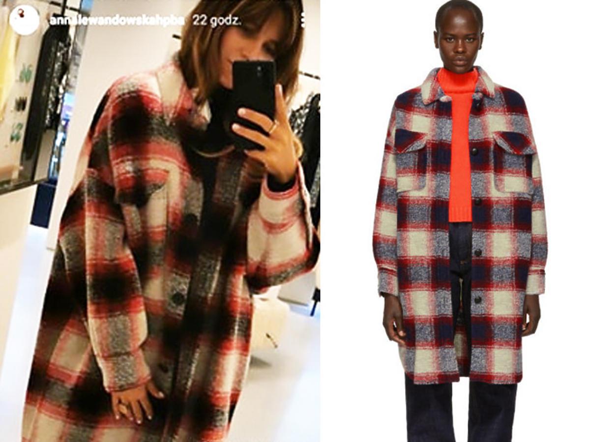 Anna Lewandowska w modnym płaszczu w kratkę na jesień Isabel Marant za 2500 złotych