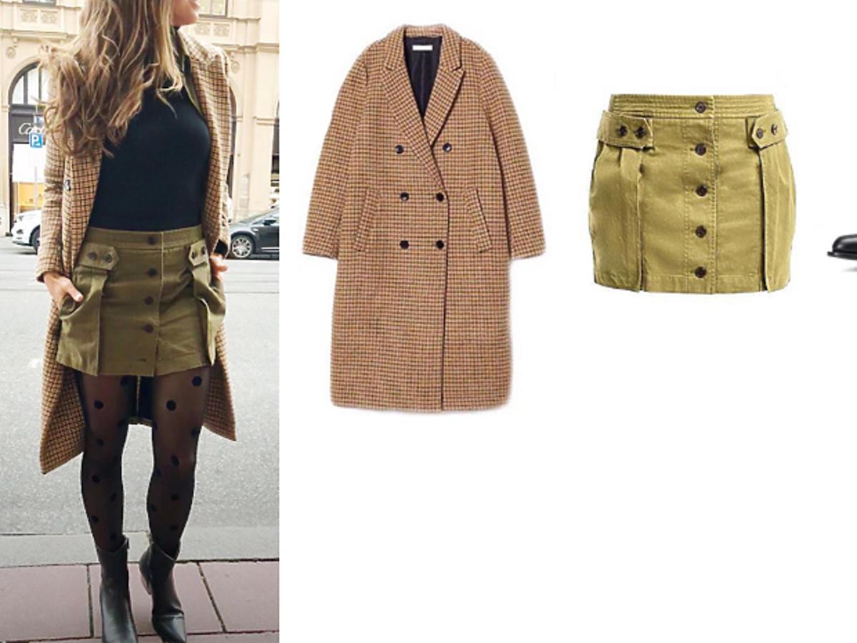 Anna Lewandowska w płaszczu H&M i spódniczce od Yves Saint Laurent