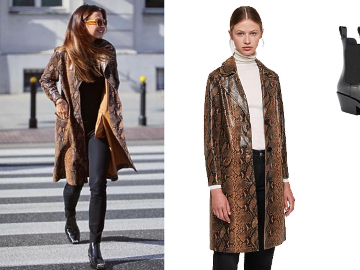 Anna Lewandowska w wężowym płaszczu AllSaints i kowbojkach Calvin Klein