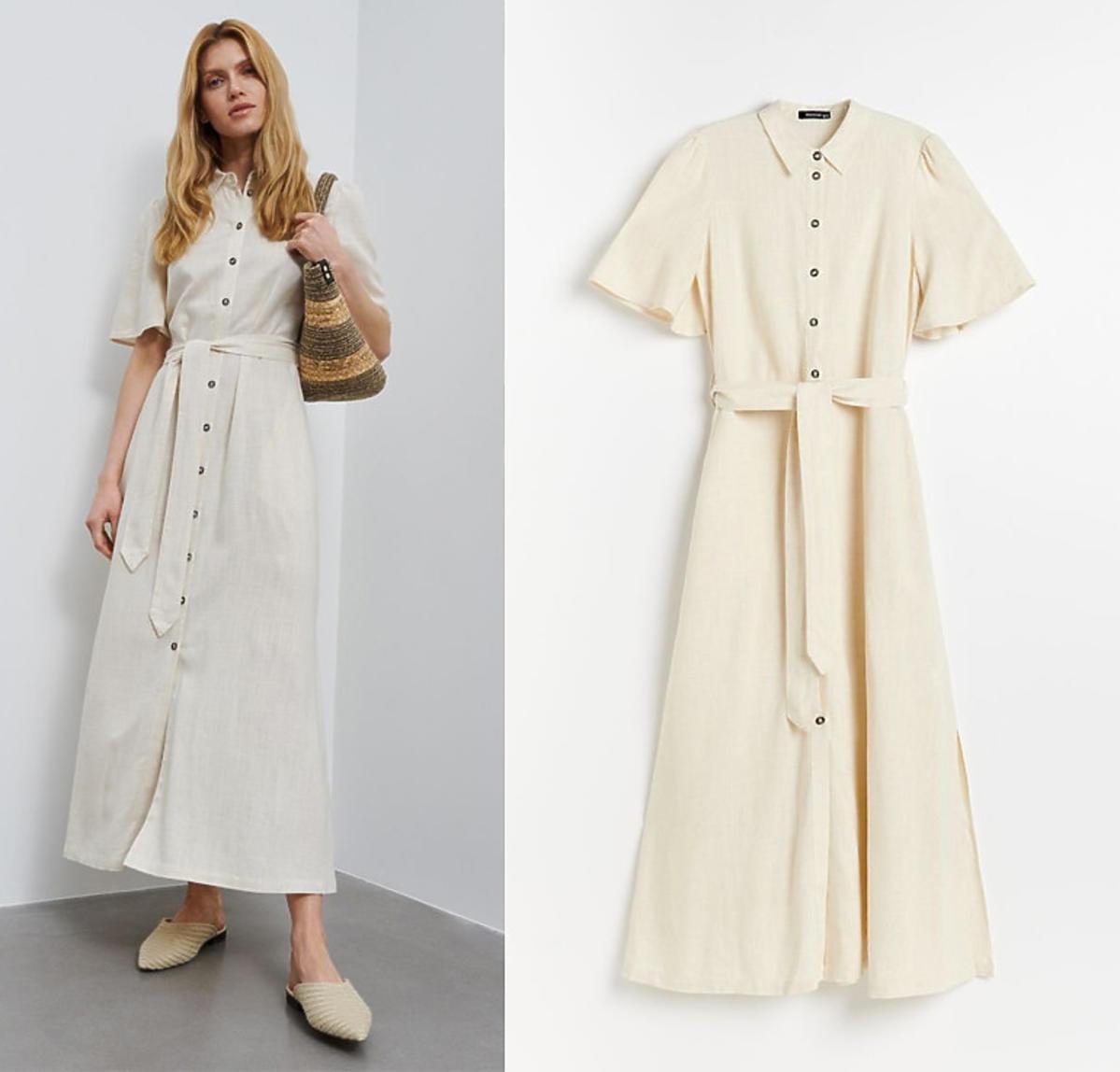 Beżowa sukienka z lnu z Reserved z wyprzedaży, 89,99 zł
