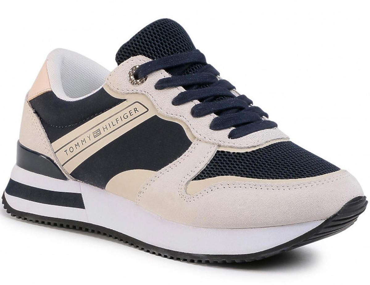 Beżowo-czarne sneakersy Tommy Hilfiger