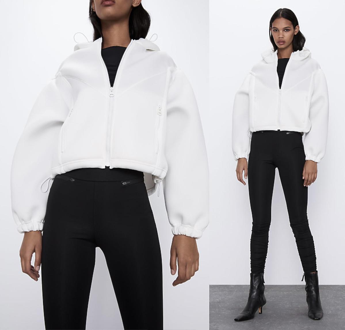 Biała kurtka w stylu neopranowym z bufiastymi rękawami, Zara, 139 zł