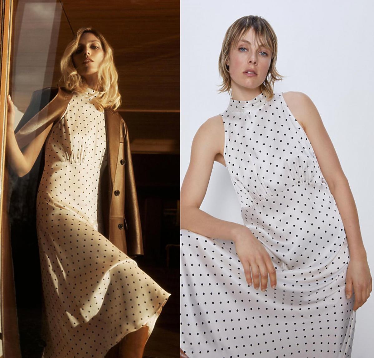 Biała sukienka w kropki, Zara, 139 zł
