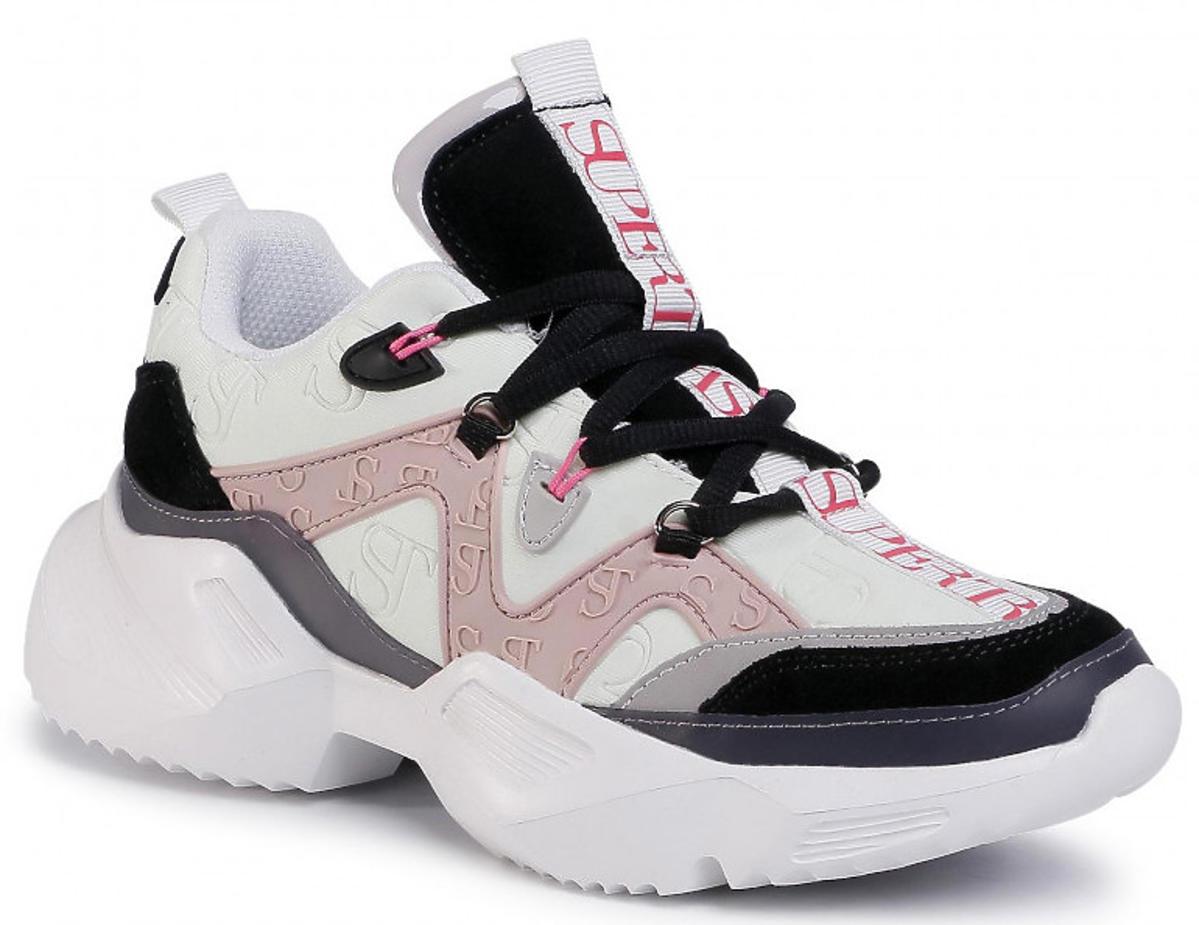 Biało-czarno-różowe sneakersy Supertrash