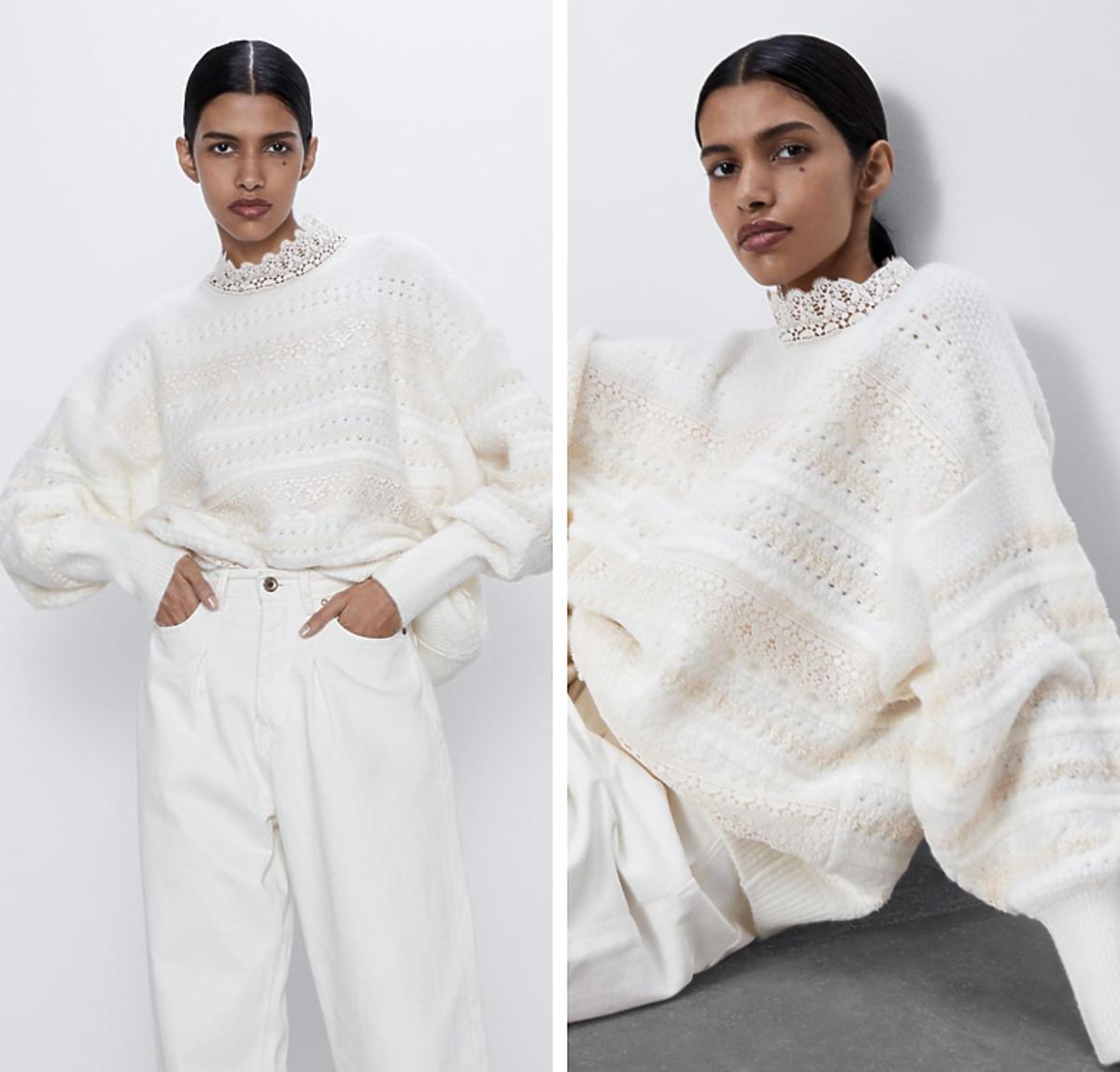 Biały dzianinowy sweter z okrągłym dekoltem z Zary za 139 złotych