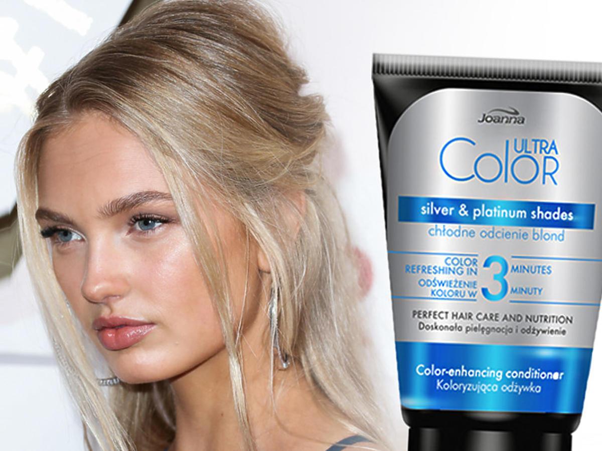 Blondynka i niebieska odżywka do włosów blond Joanna