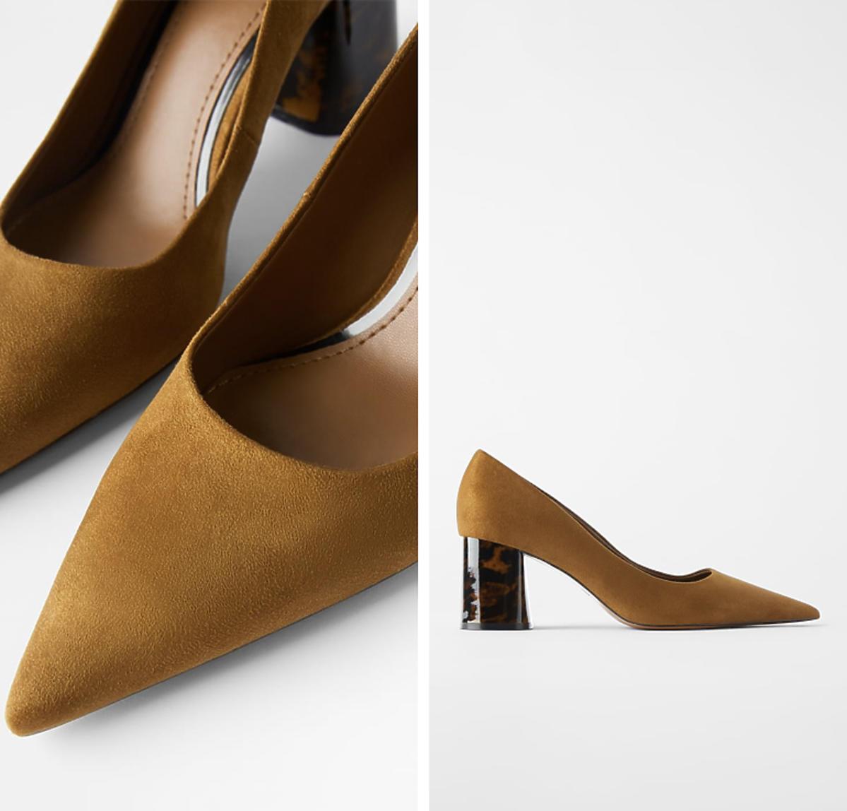 Buty na obcasie w kolorze naturalnej skóry.