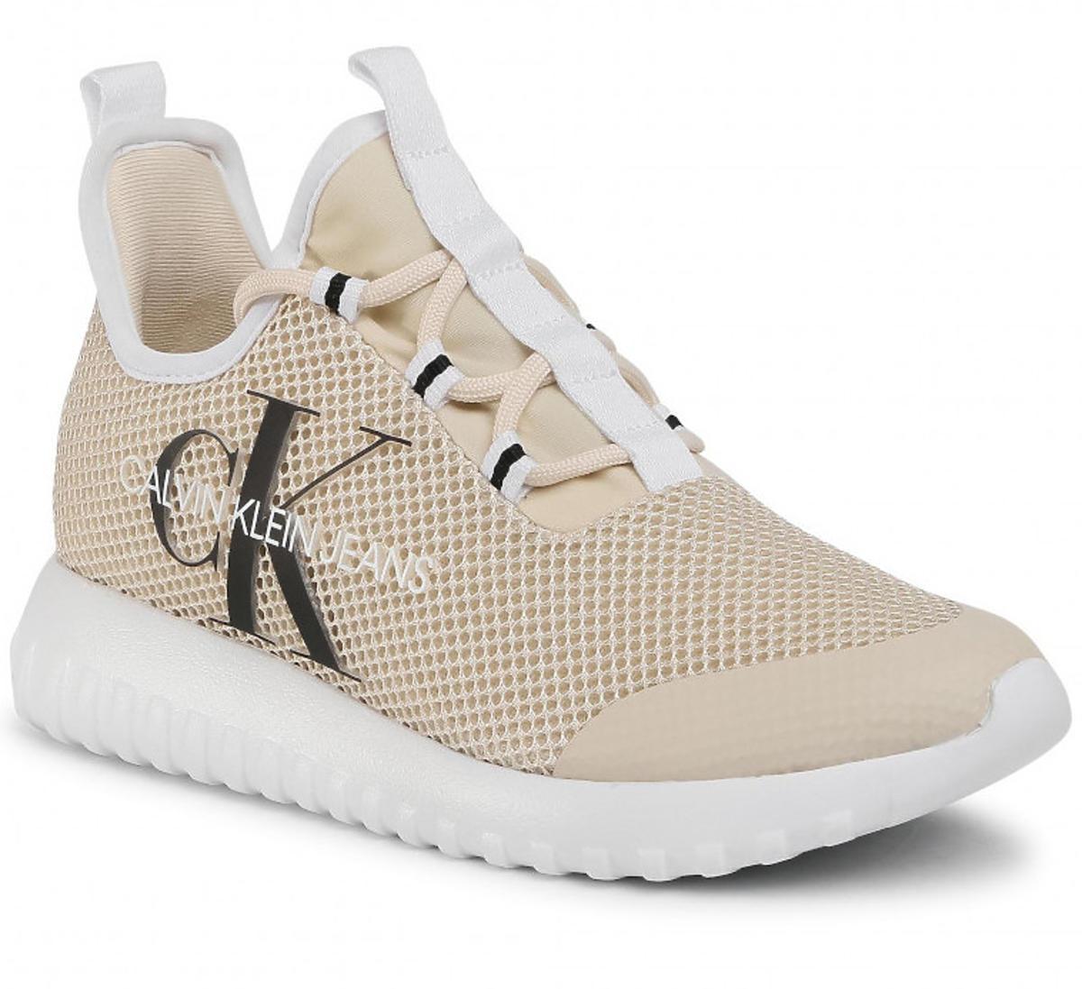 Calvin Klein, beżowe sneakersy na cienkiej podeszwie